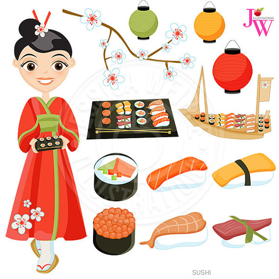Sushi Cute Digital Clipart, Japanese Cuisine, Sushi Clip Art.