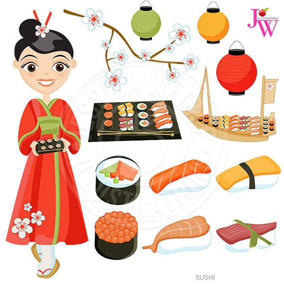 Sushi Cute Digital Clipart, Japanese Cuisine, Sushi Clip Art.