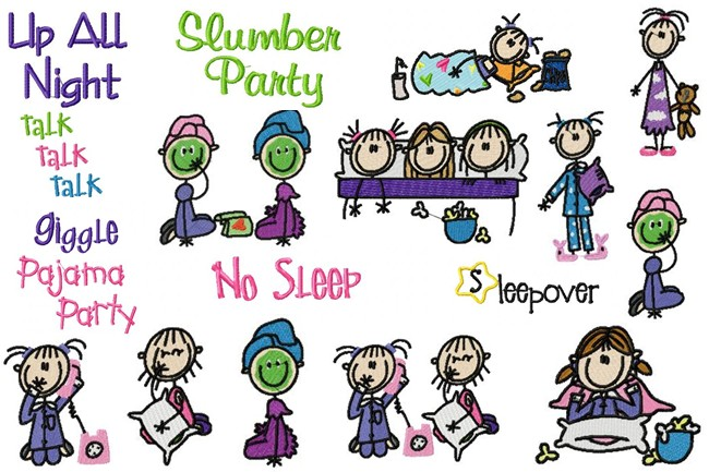 Slumber Party Words Clipart.