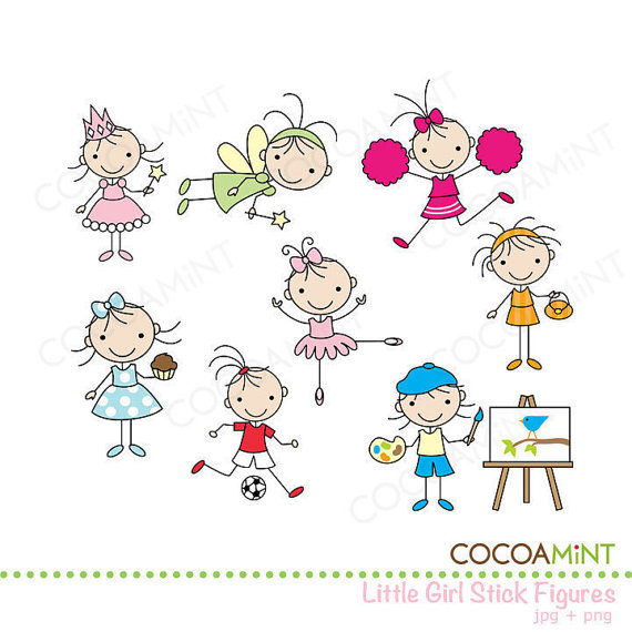 Little Girl Stick Figures Clip Art by Cocoa Mint.
