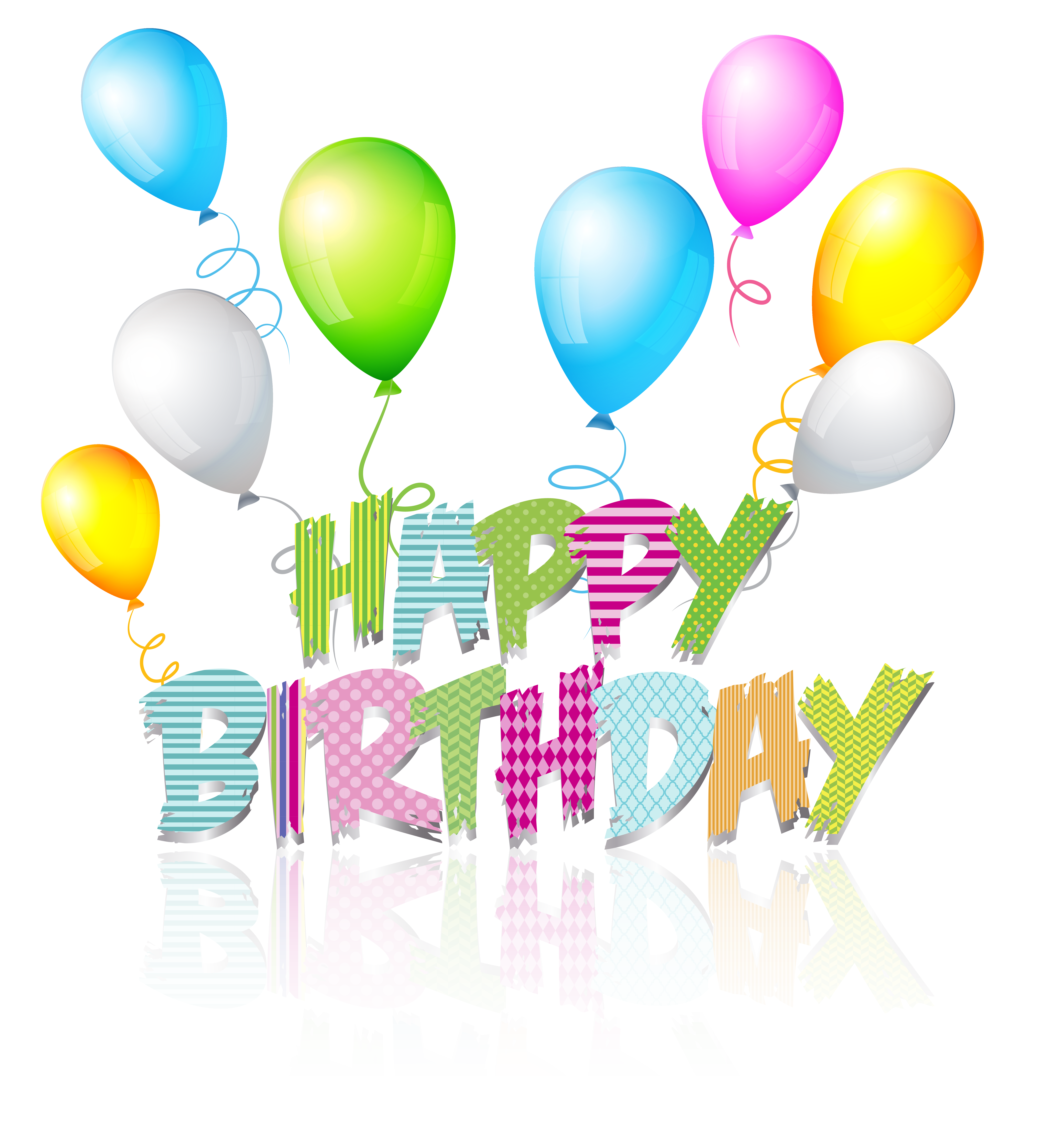 Party Coloured Happy Birthday Text PNG Clip Art Image.
