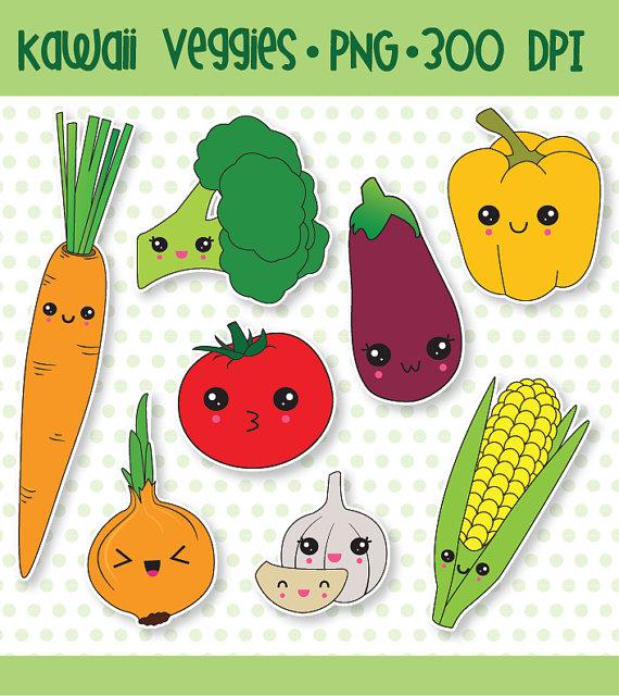 75% OFF Kawaii clipart, kawaii vegetable clipart, cute vegetable.