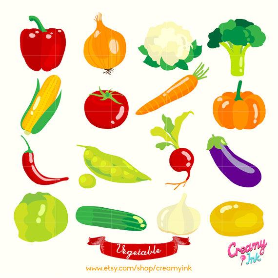 Vegetables Digital Vector Clip art / Vegetable Digital Clipart.