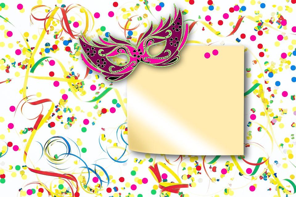 Free illustration: Streamer, Confetti, Mask, Text Box.