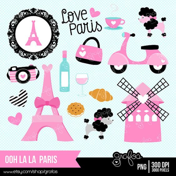 ooh la la PARIS Digital Clipart, Paris Clipart, Paris Girls.