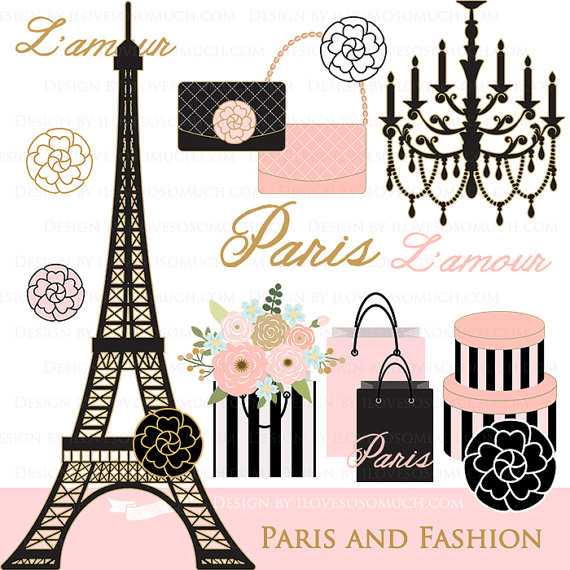 Paris Clipart / Paris and Fashion / Eiffel Tower / Paris / Fashion.