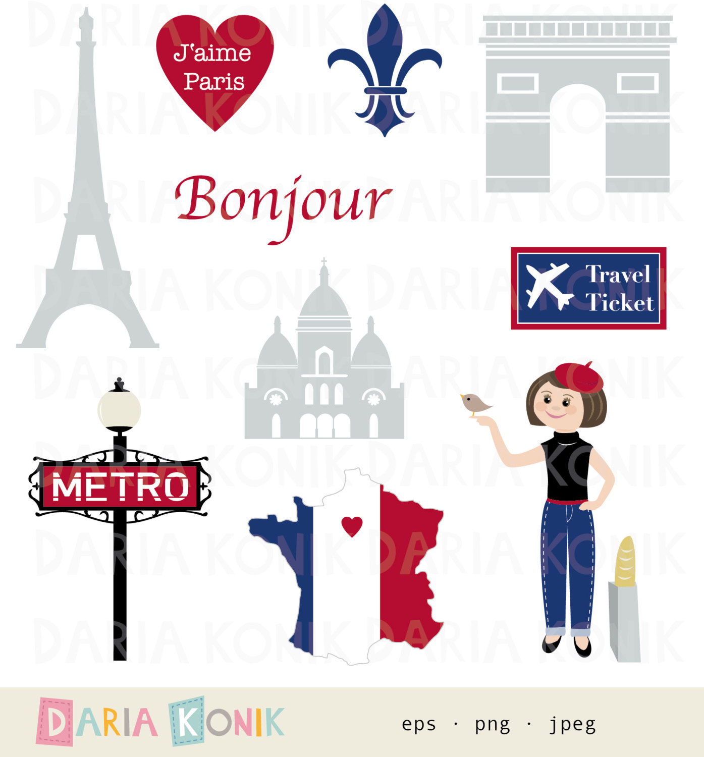 Travel paris clipart.