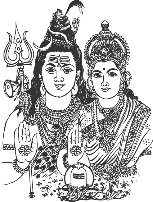 Shiv and parvati clipart.