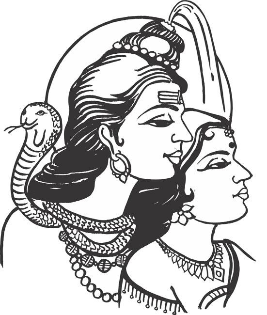 God Siva Parvathi Clipart.