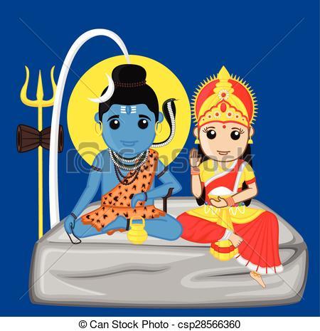 Clip Art Vector of Lord Shiva and Mata Parvati.