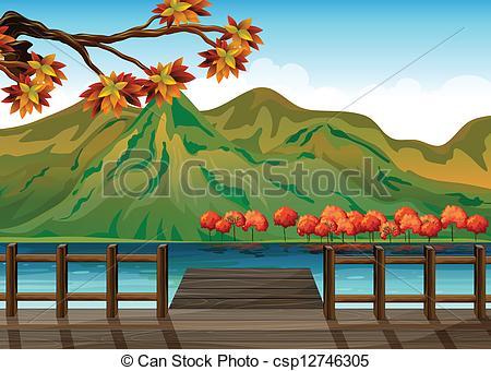Vector Clip Art de montañas, el pasar por alto, Puerto marítimo.