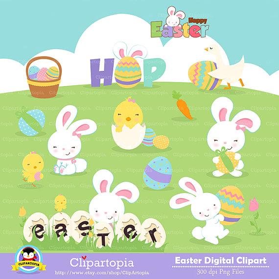 Pascua Clipart Conejos de pascua Lindos Conejos por.