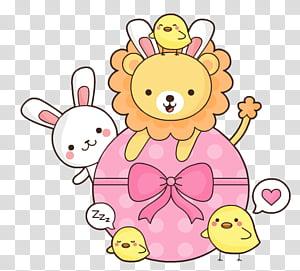 Pascua Easter, brown rabbit illustration transparent.