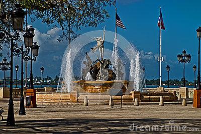 Paseo De La Princesa Fountain In Old San Juan Stock Photo.
