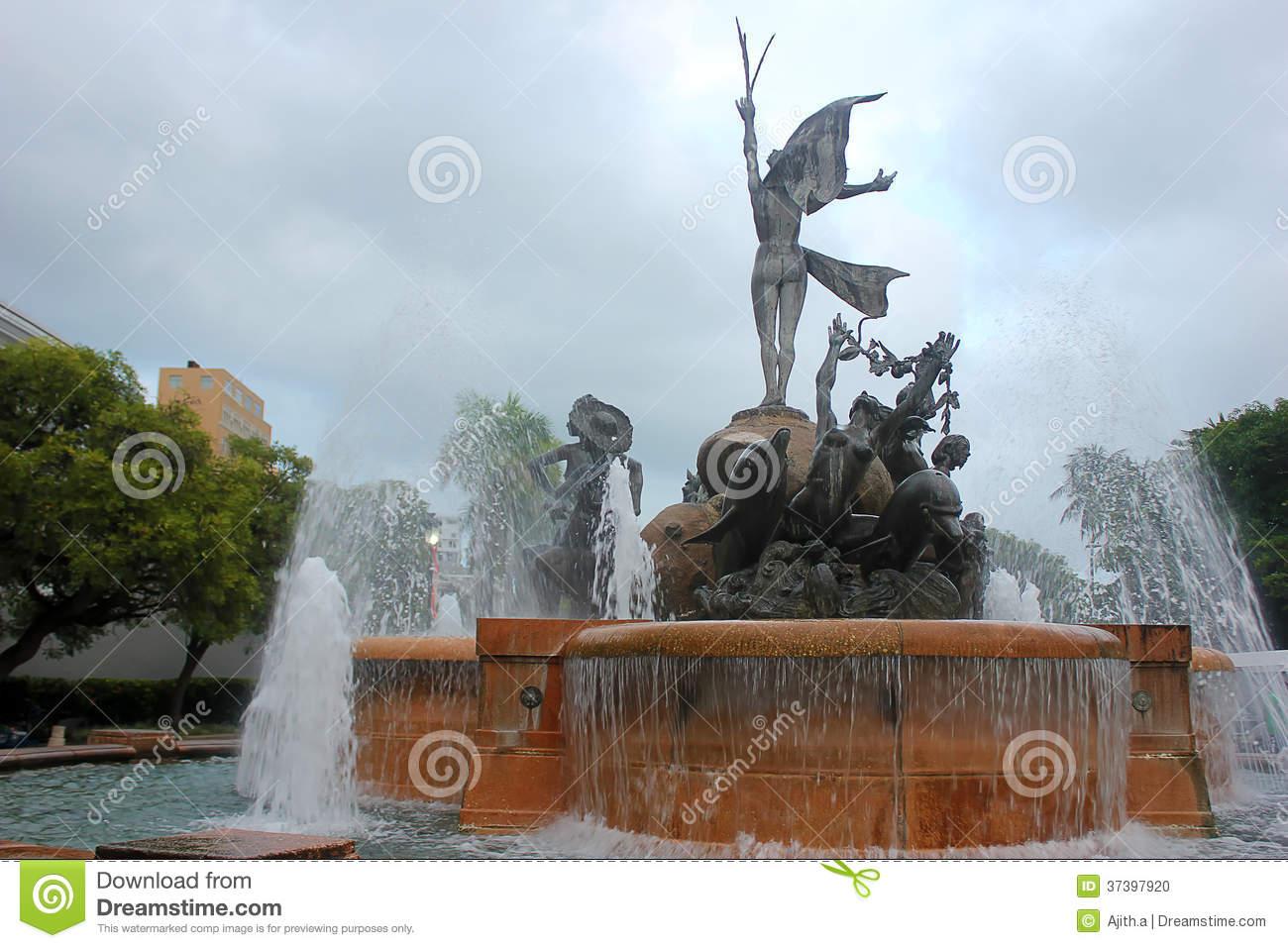 Fountain Paseo De La Princesa In Old San Juan, Puerto Rico.