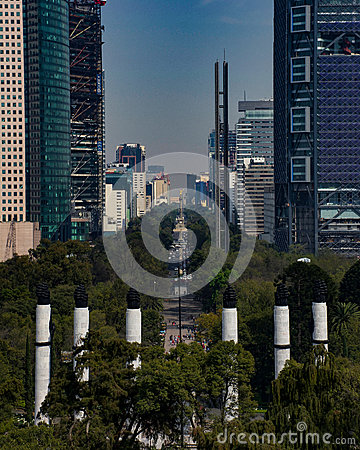 Paseo De La Reforma In Mexico City Editorial Photo.