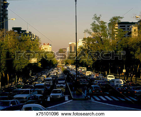 Stock Images of Mexico, Mexico, D.F., Paseo de la Reforma, traffic.