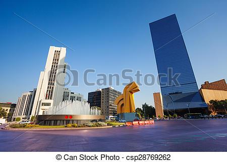 Stock Image of Paseo de la Reforma square in downtown Mexico city.