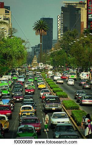 Stock Photograph of Mexico, Mexico city, paseo de la Reforma.