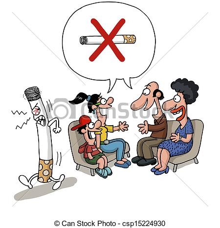 Clip Art of Passive smoking concept..