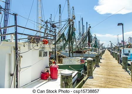 Stock Images of boats for shrimps fishing in Pass Christian.