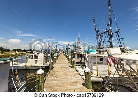 Stock Photo of boats for shrimps fishing in Pass Christian.