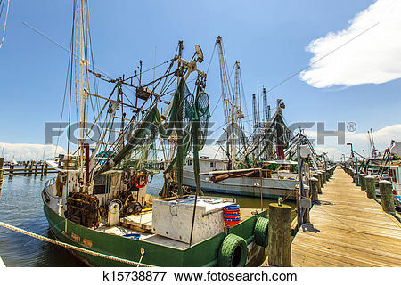 Picture of boats for shrimps fishing in Pass Christian k15738877.