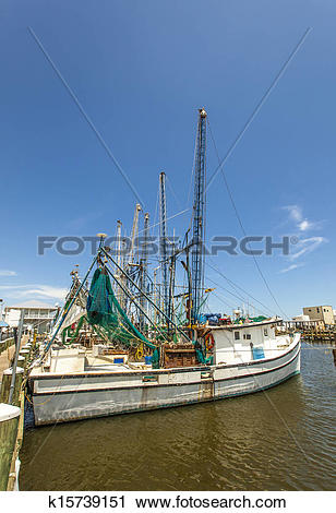 Stock Photography of boats for shrimps fishing in Pass Christian.