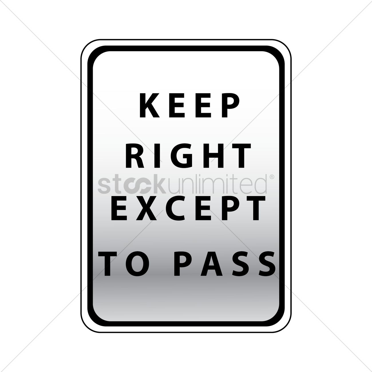 Keep right except to pass road sign Vector Image.