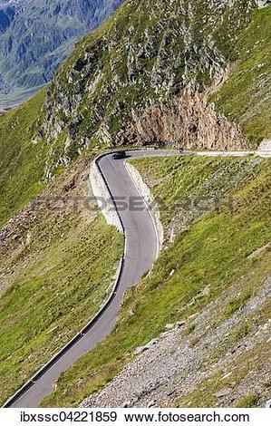 Stock Photograph of Mountain pass road, mountain pass Timmelsjoch.
