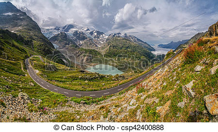 Pictures of Mountain pass road in gorgeous alpine scenery in.