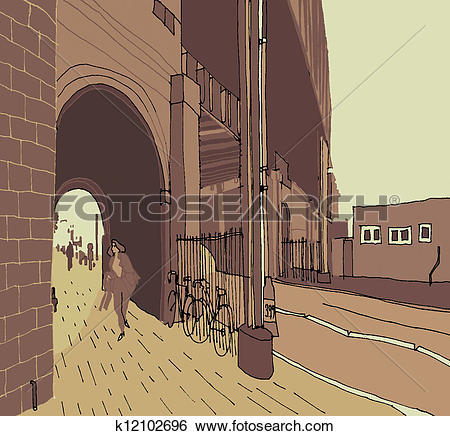 Stock Illustration of A passageway in the city k12102696.