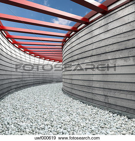Stock Illustration of Passageway covered with pebbles, 3D.