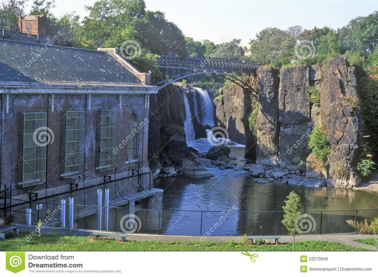 Great Falls, Passaic River In Paterson, NJ Stock Photo.