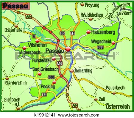 Clipart of Map of passau k19912141.