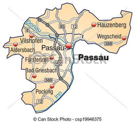 Vectors Illustration of Map of passau with highways in pastel.