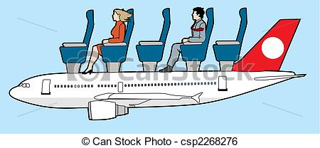 Clip Art Vector of aircraft passengers.