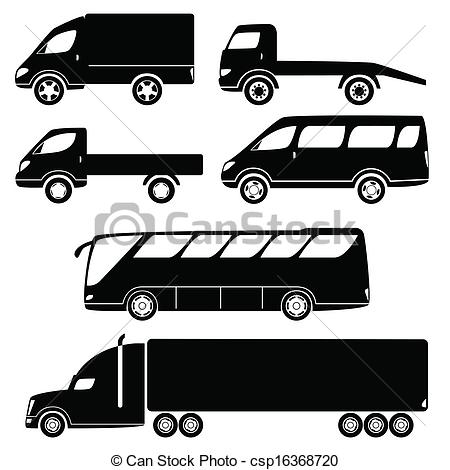 Vector Illustration of Modern passenger and freight cars.