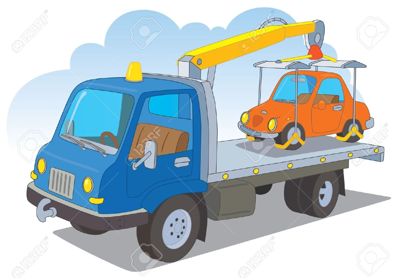 Tow Truck With A Passenger Car Royalty Free Cliparts, Vectors, And.
