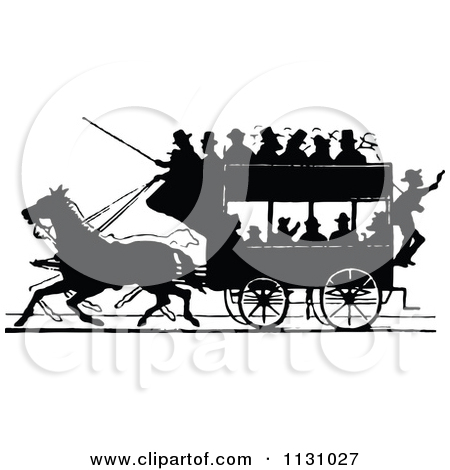 Clipart Of Silhouetted Black And White Single Horse Drawn Cart.
