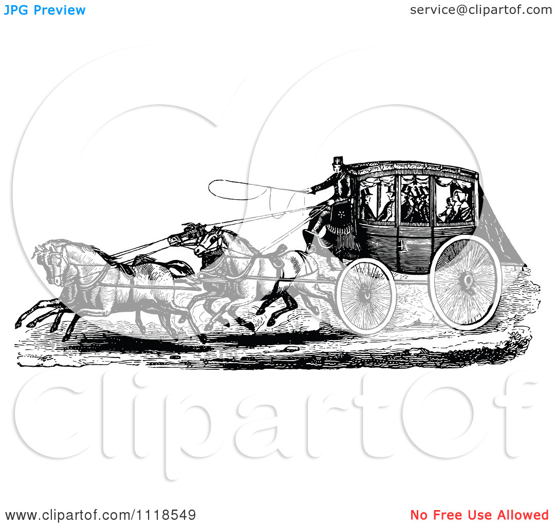Clipart Of A Retro Vintage Black And White Horse Drawn Carriage.