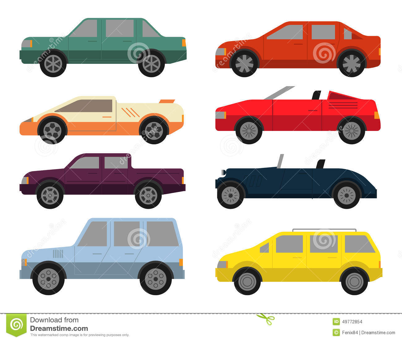 Cars Icon Set Stock Vector.