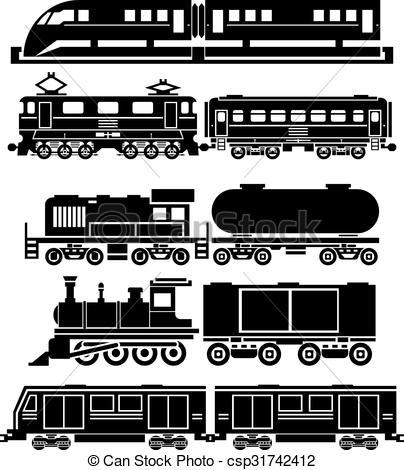 Vector Clip Art of Train, sky train, subway vector icons set.