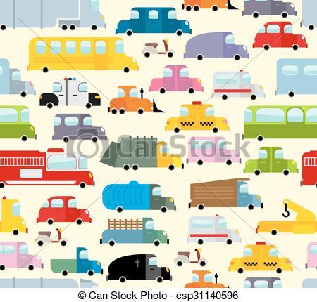 EPS Vectors of Cartoon car pattern. City traffic jam. Diverse.