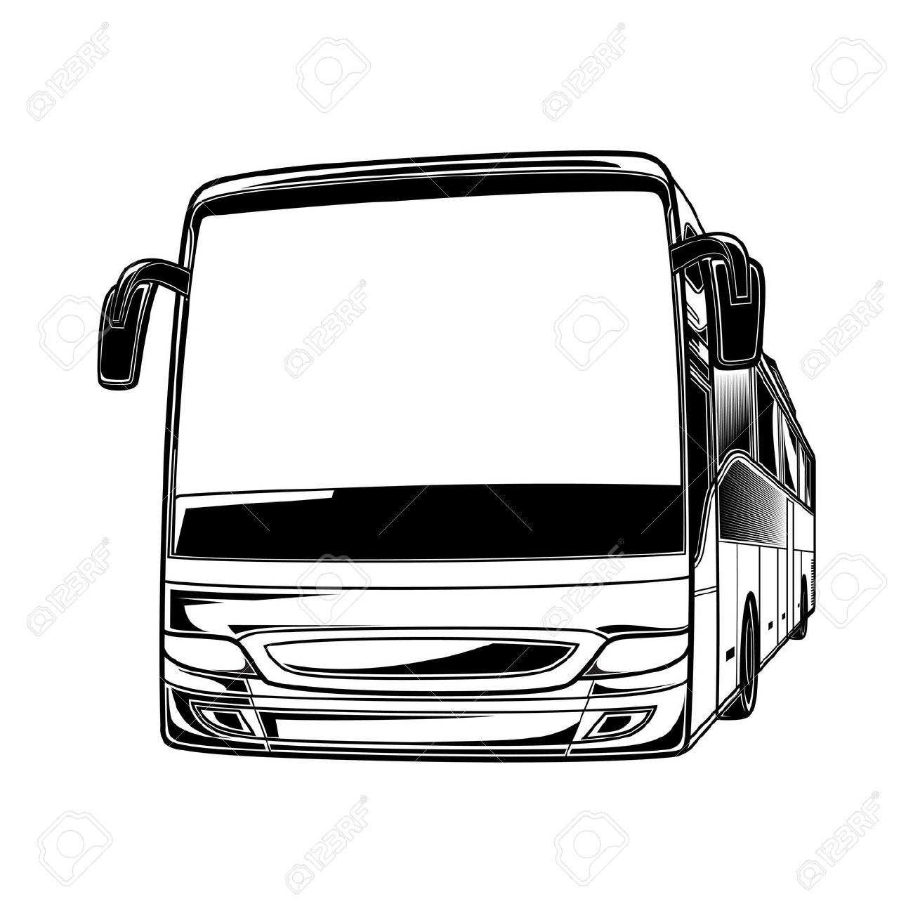 Big Vector Black And White Transport Car Bus Travel Traffic.