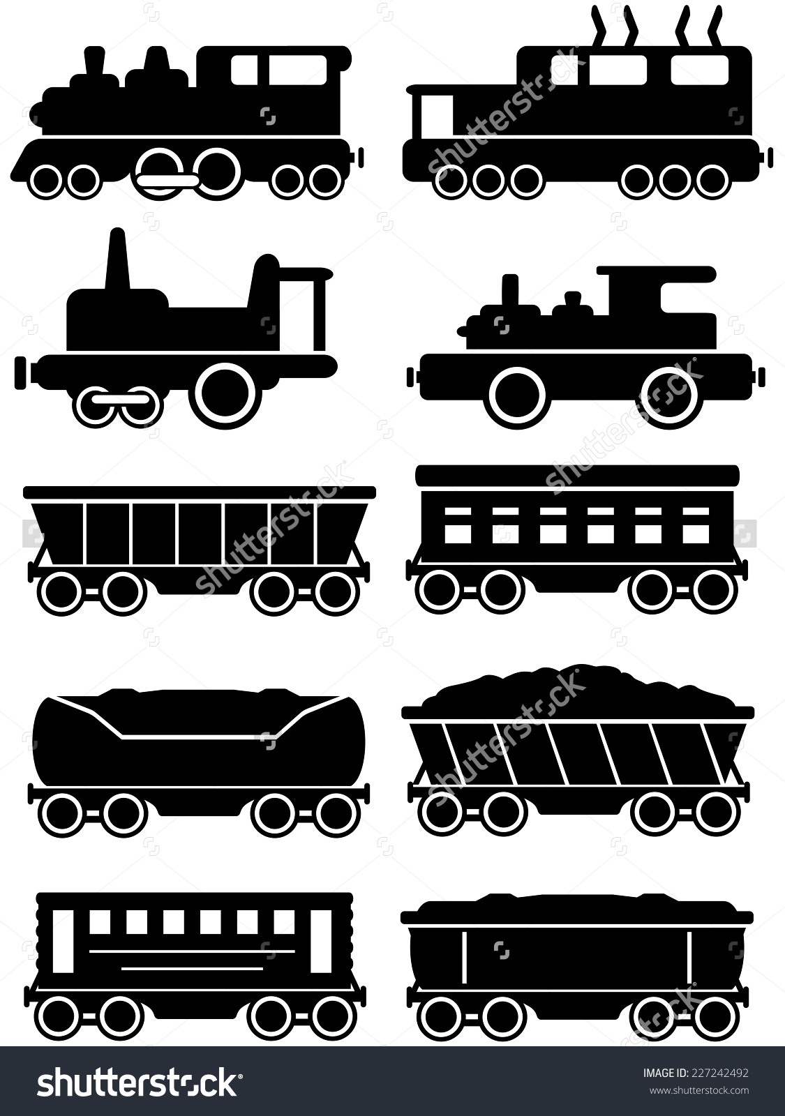 Set Isolated Trains Freight Passenger Car Stock Vector 227242492.