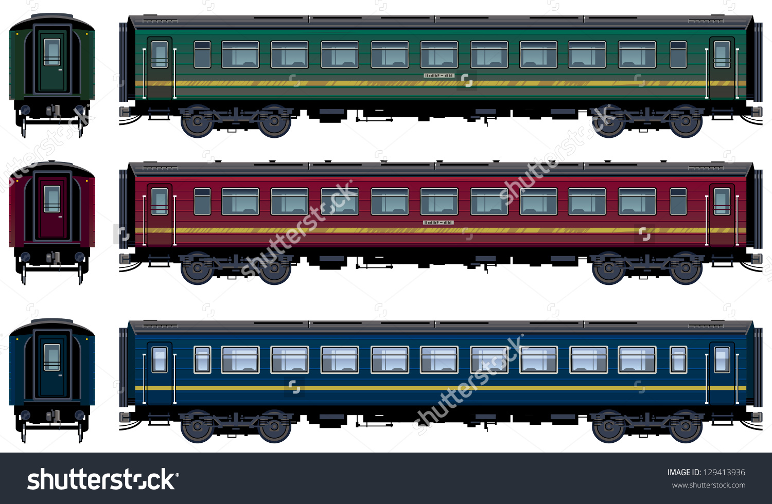 Passenger Train Cars Vector Train 21 Stock Vector 129413936.