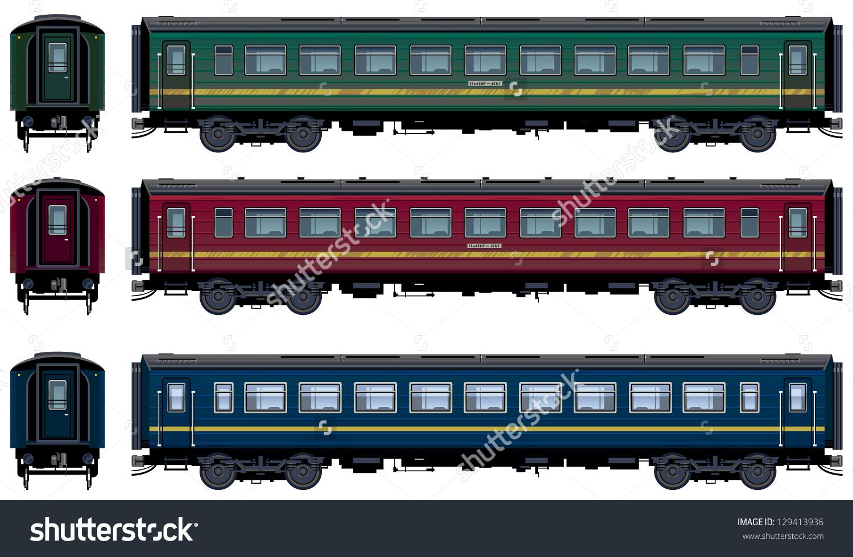 Passenger Train Cars Vector Train 21 Stock Vector 129413936.
