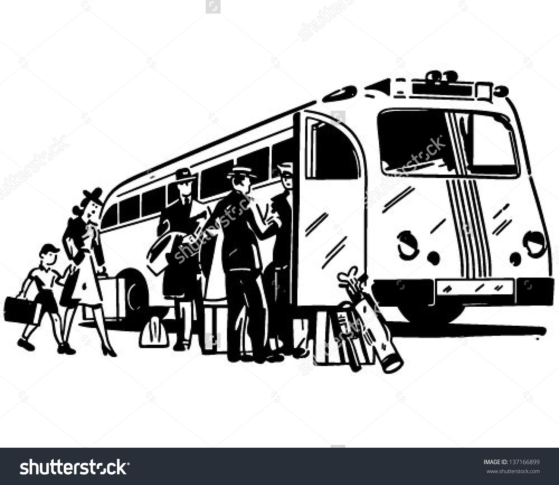 Passengers Boarding Bus Retro Clip Art Stock Vector 137166899.