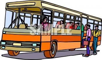 City Bus Transportation Clipart.